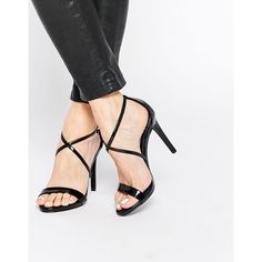 Steve Madden Feliz Heeled Sandals (£56) ❤ liked on Polyvore featuring shoes, sandals, black patent, black shoes, black patent leather shoes, black patent leather sandals, steve madden sandals and patent leather sandals
