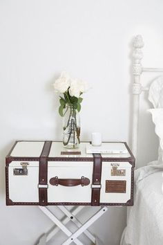 Operation Organize: Creative Storage Solutions  beautiful white & bright bedroom, and spice jars on the fridge, great idea