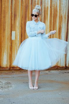 Blue on blue-very feminine but I  am not sure about the tulle