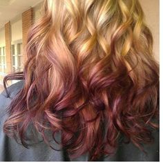 ombre curls yes please. if i could find similar colors that would be in dress code Dark Blonde Ombre, Blonde Balayage, Blonde Hair, Pink Hair, Reverse Ombre Hair, Ombre Hair Color, Red Ombre, Cute Hairstyles Long, Curled Hairstyles