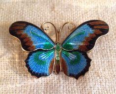 Sterling Silver Norway Enamel Butterfly Pin