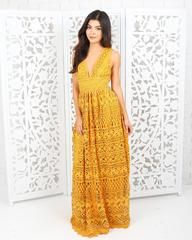 Fleur Lace Maxi Dress - Mustard - Large