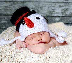 Últimas muñeco de nieve sombrero del ganchillo gorro Beanie tejido a mano infantil niños de invierno con orejeras sombrero accesorios de fotografía 1 unid envío gratis MZS-14152