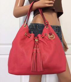 NEW MICHAEL KORS Large Leather Drawstring Shoulder Handbag Tote Bag Purse Pink