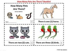 Numbers and Pets 2 Emergent Reader Booklets by Sue Summers - How many are there?