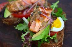 Open Face Salmon Sandwich with Sweet Mustard Sauce Recipe by Steamy Kitchen