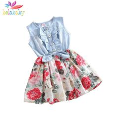 Belababy brand Summer Children Sleeveless Christmas Denim Floral Dresses Princess Bowknot Flower