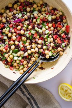 BALELA SALAD... A flavorful and nutritious Mediterranean chickpea & black bean salad! Pairs perfectly with pita bread, arugula and hummus...