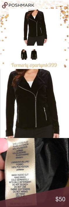 Moto black Velour silver zipper jacket Ret $94 Velour Moto Jacket Velour soft warm lined brand new with tags retail $94 Rafaella Jackets & Coats
