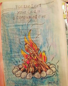 For the Lord your God is a consuming fire. Bible Drawing, Bible Doodling, Bible Verse Art, Bible Scriptures, Fire Bible, Bible Study Journal, Art Journaling, Book Of Galatians, Oldest Bible