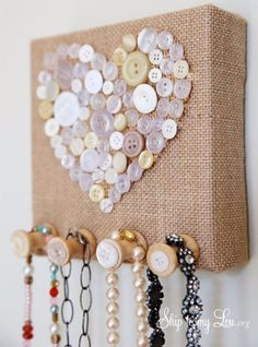 DIY Projects to Make and Sell on Etsy - Burlap And Vintage Button Jewelry Holder - Learn How To Make Money on Etsy With these Awesome, Cool and Easy Crafts and Craft Project Ideas - Cheap and Creative Crafts to Make and Sell for Etsy Shops http://diyjoy.com/crafts-to-make-and-sell-etsy