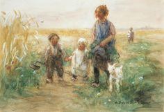 Jan Zoetelief Tromp – Kinderen met hun lammetje op weg naar huis