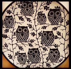 Owl Platter By Jennifer Falter Sgraffito on Porcelain www.springfieldpottery.com