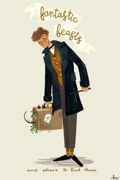 Harry potter illustration Newt Scamander - Check out my NEW SPECIAL Fantastic Beasts and Where to Find Them board too! Mundo Harry Potter, Harry Potter Love, Harry Potter Universal, Harry Potter World, Frases Hp, Hogwarts, Yer A Wizard Harry, Eddie Redmayne, Fantastic Beasts And Where