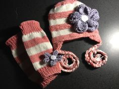 Baby knit earflap hat with flower and leg warmers