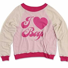 I love boys Kim's sweater raglan jumper sweatshirt I love boys. Super soft and lightweight terrycloth pullover featuring a roomy, boxy fit that hangs off the body perfectly. Scoop neck, raglan style sleeves with banded hems, and inside-out stitching for a vintage look.   85% Cotton, 15% Polyester Wildfox Tops Sweatshirts & Hoodies