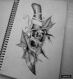 Skull Tattoo Design, Skull Tattoos, Body Art Tattoos, Sleeve Tattoos, Tattoo Designs, Knife And Rose Tattoo, Knife Tattoo, Dagger Tattoo, Tattoo Sketches