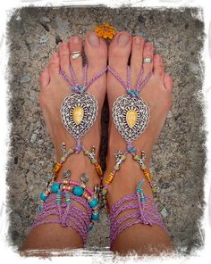 INDIE Paisley BAREFOOT sandals PURPLE sandals crochet by GPyoga