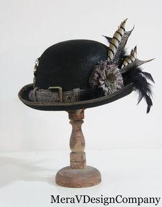Black Antique Brass Derby Bowler Top Hat by MeraVDesignCompany, #millinery #judithm #hats