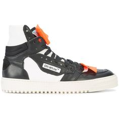 Off-White hi-top sneakers ($575) ❤ liked on Polyvore featuring men's fashion, men's shoes, men's sneakers, black, mens high top sneakers, mens black sneakers, mens leather high top sneakers, mens black high top shoes and mens black high top sneakers