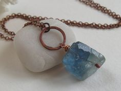 """Rainbow Fluorite Nugget Pendant Necklace,  Raw Hand-Chipped Stone, Denim Blue Wire Wrapped Gemstone, 30 """" Antique Copper Chain"""