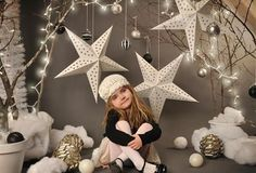 Christmas Star Printed Photography Backdrop for Children