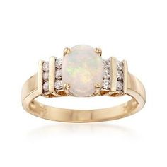 Ross-Simons - Opal and .22 ct. t.w. Diamond Ring 14kt Yellow Gold Ring - #822464