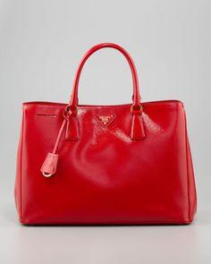 Prada Saffiano Vernice Gardener's Tote Bag, Rosso on shopstyle.com