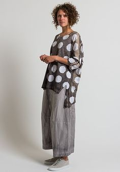 5e65b9d0f19 Gilda Midani Super Tee in Pois Cement + White. Layered FashionLinen TunicWhite  ...