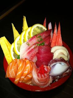 Chirashi- my favorite!  chirashi noun a Japanese dish of sushi ingredients artistically arranged on top of vinegared rice Word Origin Japanese meaning 'scattered sushi'