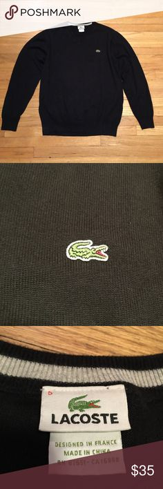 Lacoste black mens v neck sweater - sz 5/Large Lacoste black mens v neck sweater - sz 5/Large. Armpit to armpit - 23 inches. Length - 27 inches. Excellent condition Lacoste Sweaters V-Neck