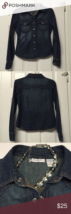 Charlotte Russe Denim Shirt Gorgeous Charlotte Russe denim shirt, with pearl buttons. Charlotte Russe tends to run a little small in the size of their clothes in my opinion. 17.5 inches across the chest, 21 uncles shoulder to bottom. Charlotte Russe Tops