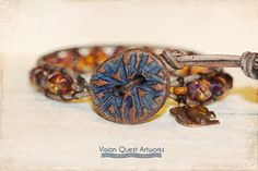 Beautiful Czech glass leather wrap stack by VisionQuestArtworks