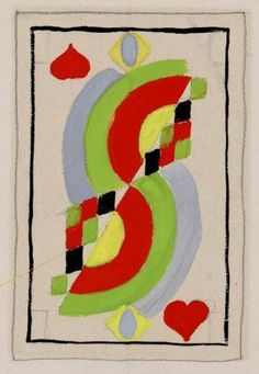 Dame de coeur,1960. Sonia Delaunay's 'Simultané' playing cards were completed in 1964. The court cards were conceived to express the essential nature of the figure represented,  rather than its meaning, traditionally conveyed by ornaments, emblems and symbols. The femininity of the queen is characterised by rounded curves.