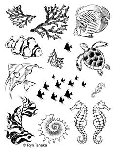 "Designs by Ryn - Unmounted Rubber Stamp Sheet - Sea Creatures 1 (8.5""x11"" sheet)"