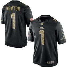 Nike Panthers  1 Cam Newton Black Men s Stitched NFL Limited Salute to  Service Jersey And 83161d676