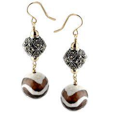 Lollies Marcasite & Zebra Agate Earrings