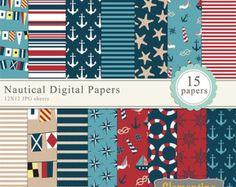 Nautical scrapbook paper 12x12, nautical digital scrapbooking paper, royalty free- Instant Download