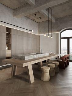 Beton M8 on Behance Best Kitchen Design, Casa Cook, Minimalist Kitchen, Interiores Design, Kitchen Interior, Interior Architecture, Living Room Designs, Sweet Home, House Design