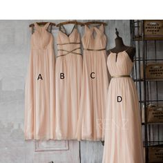 Peach Bridesmaid Dress, Long Prom Dress, Wedding Dress, A Line Chiffon Formal Dress, Mix Match Floor Length (F062~F066)/Renzrags Renz by RenzRags on Etsy https://www.etsy.com/listing/220483281/peach-bridesmaid-dress-long-prom-dress