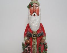 Paper Mache Santa  Folk Art Santa  OOAK Santa  Santa Art