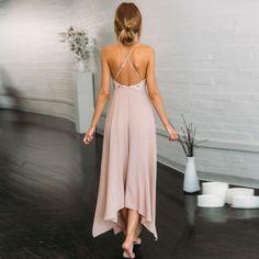 Backless Maxi Dress - Deep V Neck Spaghetti Strap Dress - Sequins - Green Girl Style