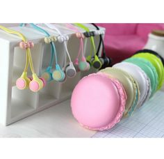 Pastel Macaron Earbuds Kit for Most Phones and Tablets in Assorted Colors Item 1683 - Specialty: Soft and pretty pastel headset tucked away in its own delightful macaron! Mobile Accessories, Iphone Accessories, Cute Phone Cases, Iphone Cases, Cute Headphones, Noise Cancelling Headset, Pretty Pastel, Mobiles, Girly Things