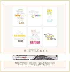 Spring | free printable journal cards, by Smitha. #ProjectLife #Scrapbooking