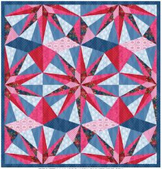 Gem Quilt Free Pattern Designed by Lily Ashbury for Michael Miller Fabrics 3d Quilts, Batik Quilts, Star Quilts, Quilt Blocks, Quilting Tips, Quilting Tutorials, Quilting Designs, Quilt Design, Free Paper Piecing Patterns