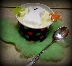 "Kids Halloween White ""Haunt"" Chocolate Recipe - Real Advice Gal Pumpkin Fluff, Pumpkin Ice Cream, Pumpkin Waffles, Chocolate Recipes, Hot Chocolate, Halloween Peeps, Pumpkin Muffin Recipes, Fluff Recipe, Mini Pumpkins"