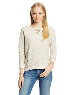 Lucky Brand Women's Studded Metallic Pullover, Natural Multi, Large