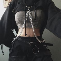 Bad Girl Outfits, Edgy Outfits, Teen Fashion Outfits, Grunge Outfits, Mode Outfits, Retro Outfits, Cute Casual Outfits, Black Outfit Edgy, Black Outfits