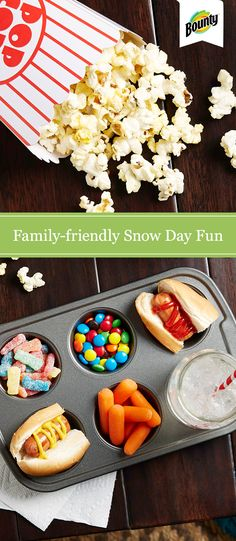 Wondering what to do on a snow day? Beat boredom with our budget- and family-friendly ideas and activities. Snuggle up inside with games, hot chocolate, movies and snacks. Tip: A muffin tin makes a handy serving tray!