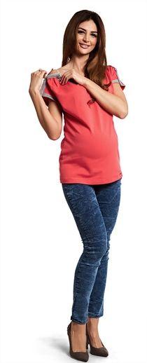 Intenso tubos jeans com efeito gasto para as mulheres grávidas